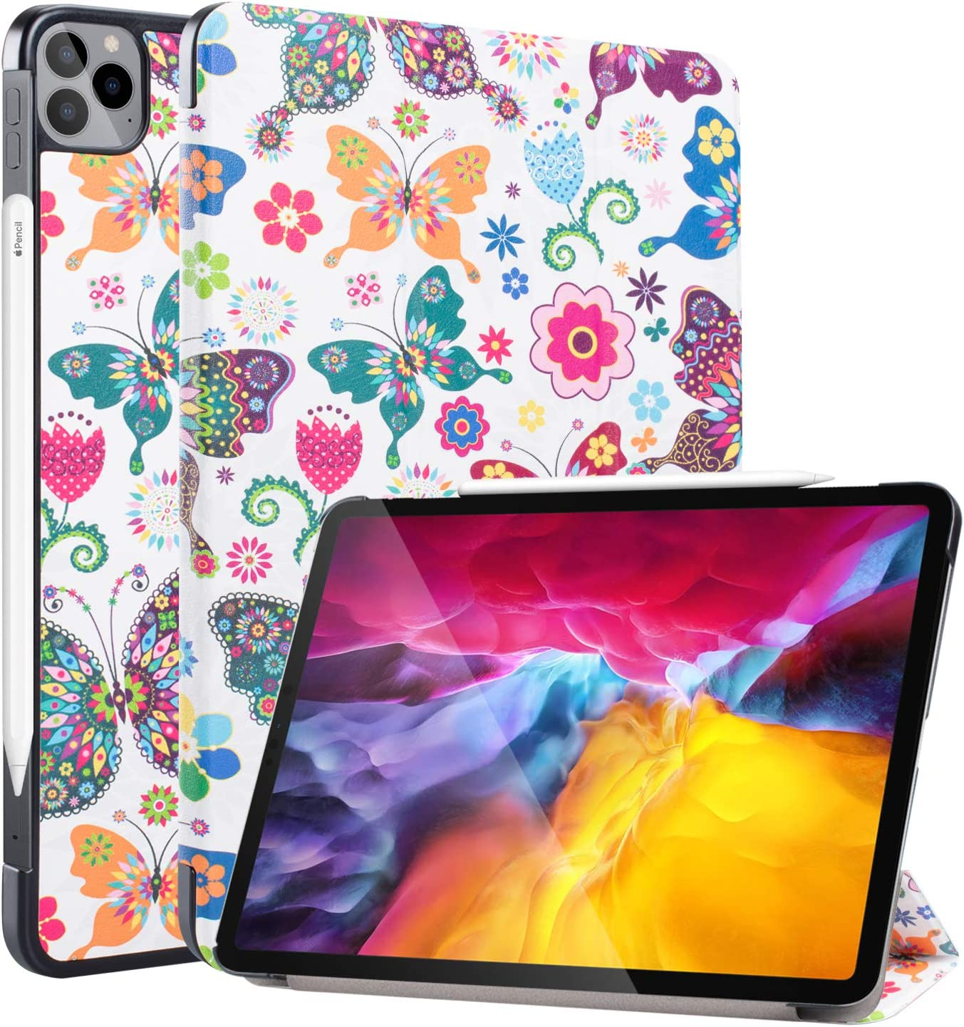 Neepanda Case for New iPad Pro 11 2020 2nd Generation, [Support Apple Pencil Charging] Slim Lightweight Smart Tri-Fold Stand Case for iPad Pro 11 inch 2nd Gen 2020, Auto Wake/Sleep, Butterfly