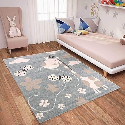  Kinderteppiche Giraffe mit Schmetterling und Blumen   Kinderteppich für  Mädchen und Jungs   Teppich für Kinderzimmer Blau   Schadstofffrei ...