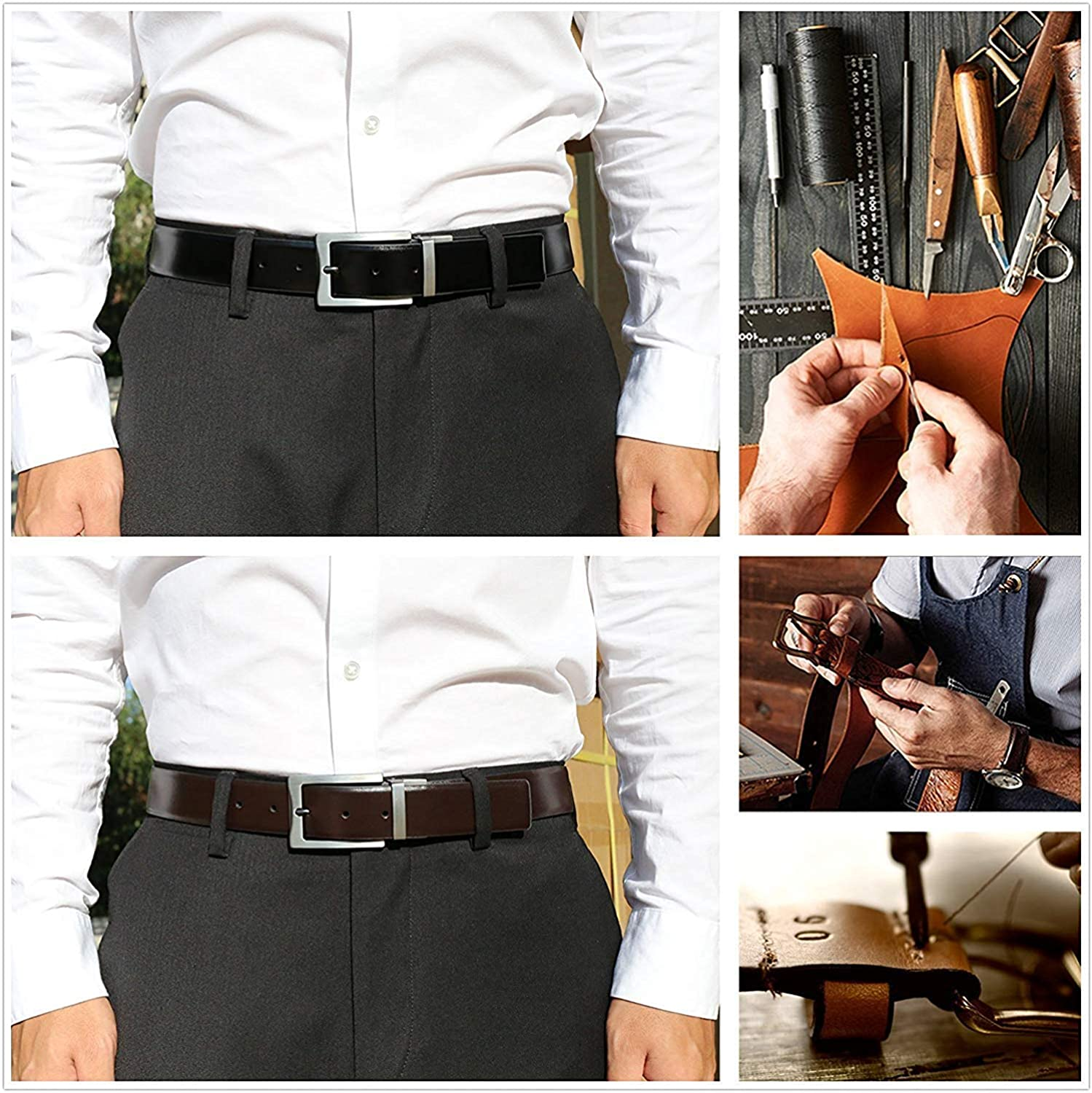 Mens Dress Belt Genuine Leather Reversible Rotated Buckle with 1.25 Wide Strap Black//Brown