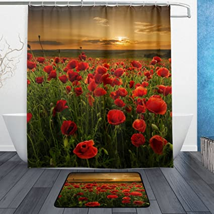 Amazon.com: Naanle Red Poppy Floral Flower with Sunset Waterproof ...