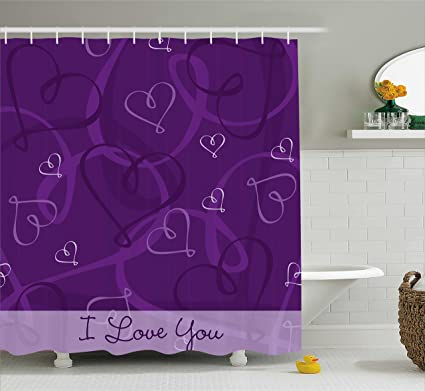 Ambesonne Romantic Shower Curtain Lavender Colored Themed Image With Hand Drawn Hearts