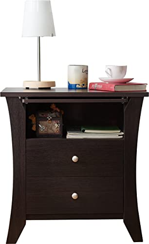 Espresso Finish Dylan 2 Drawer Bedroom Nightstand Made of Wood 24.33'' H x 23.62'' W x 15.75'' D