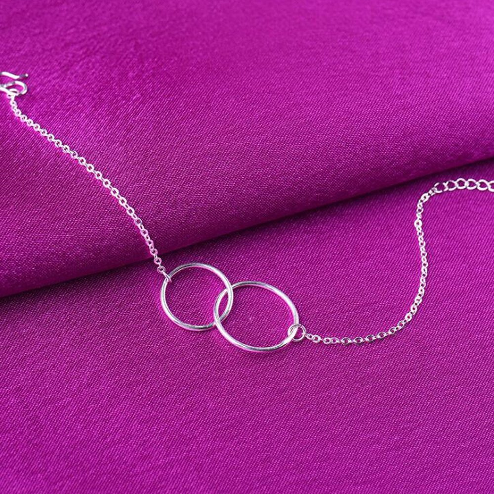 enjoyingtoday 925 Sterling Silver Simple Two Entwined Charm Chain Bracelet Double Circle Bracelet Gift For Best Friend