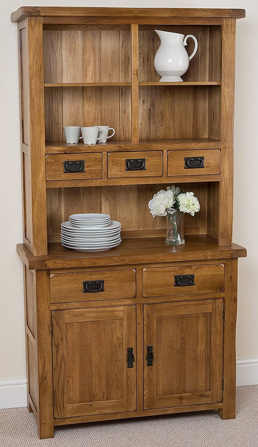 Cotswold Rustic Solid Oak Small Welsh Dresser1000 X 453 1896 Cm Amazoncouk Kitchen Home