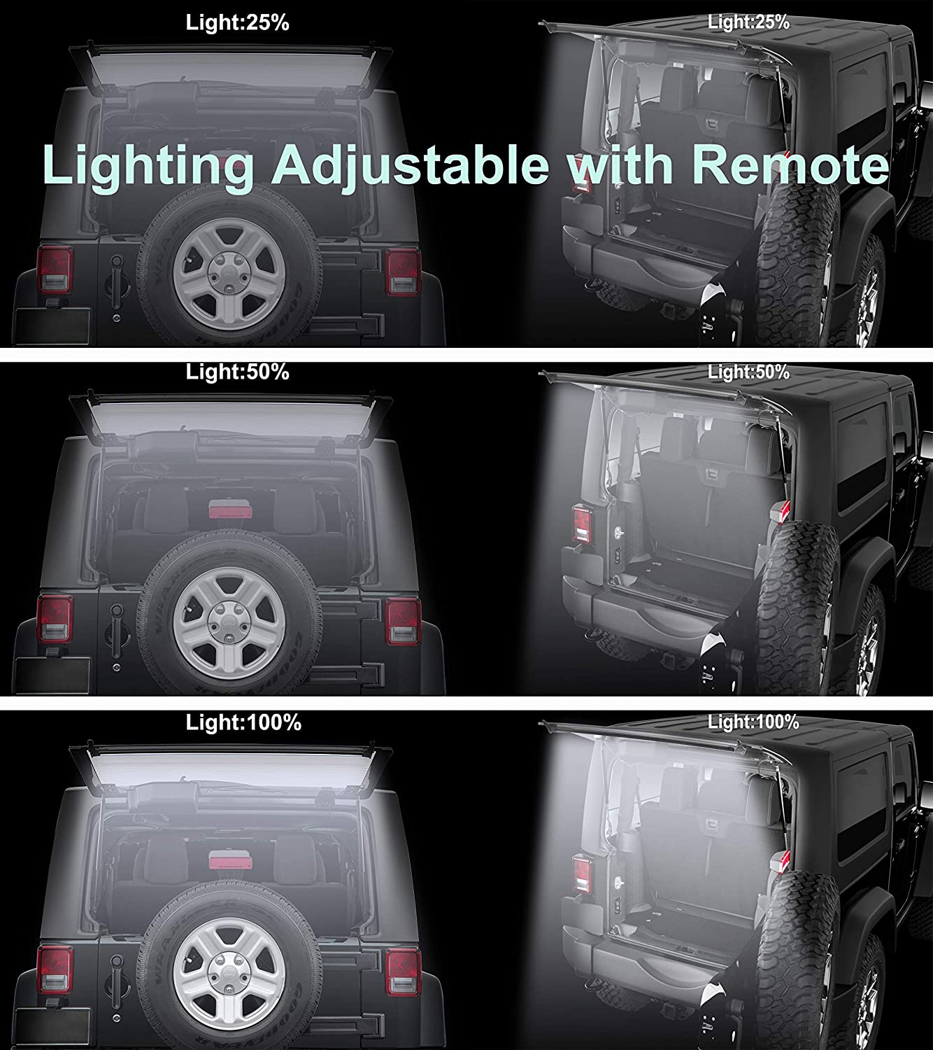 JK JKU JL JLU Rear Cargo Dome Light Led Liftgate Dome Light Bar,Lighting Adjustable with Remote and DC Connector Led Rear Glass Lift Gate Dome Light Bar for Jeep Wrangler 2007-2018