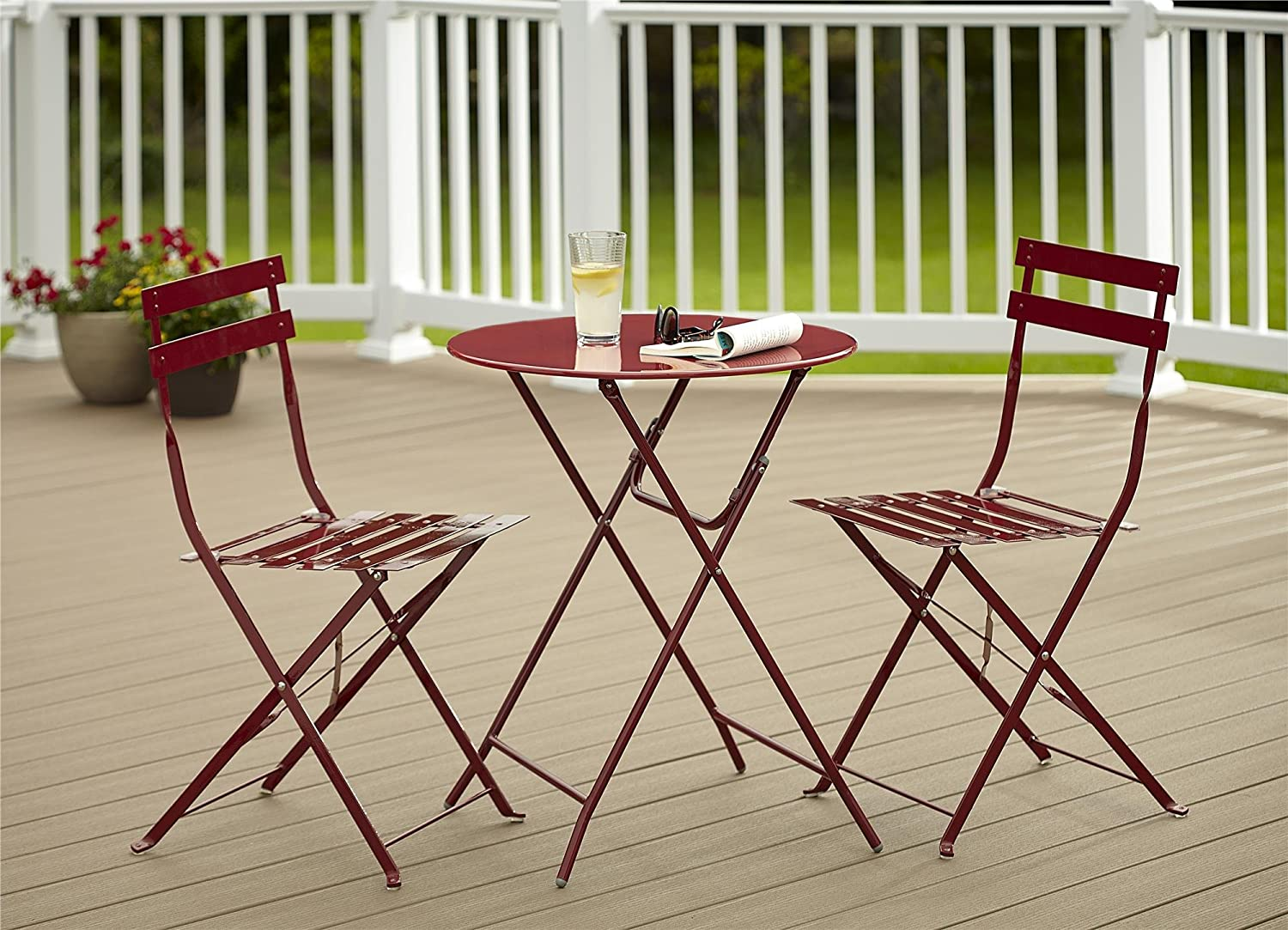 amazoncom cosco 3 piece folding bistro style patio table and chairs set red kitchen dining