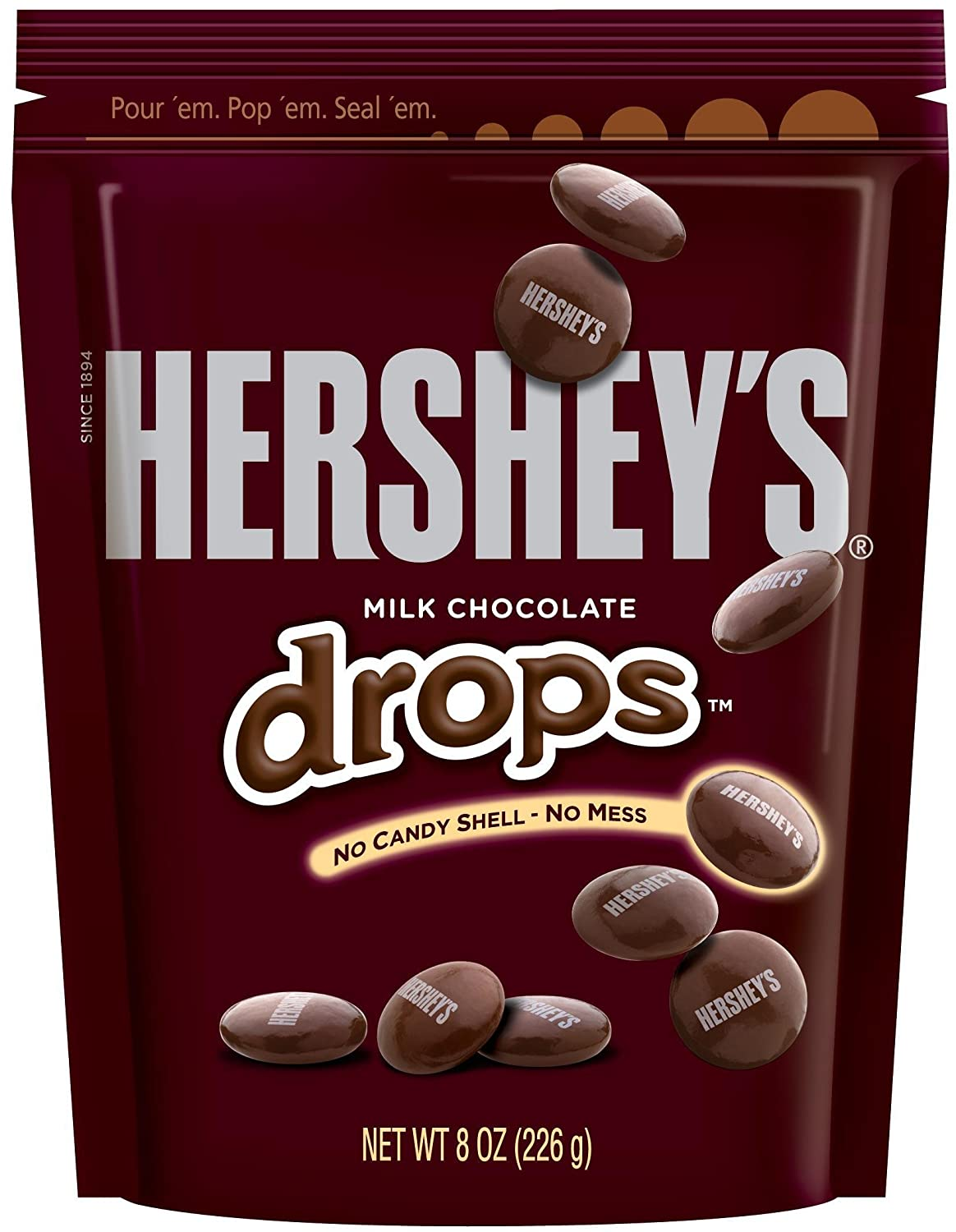 Amazon.com : HERSHEY'S Drops (Milk Chocolate, 8-Ounce Pouches ...