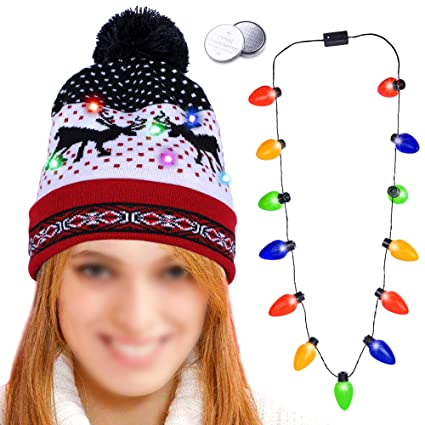 Konsait Xmas Hat LED Light UP Beanie Cap Led Christmas Bulb Necklace Winter Snow  Hat Xmas Gift Accessories Elk Decor for Kids Adults for Ugly Christmas ... 01e7f56f93c0