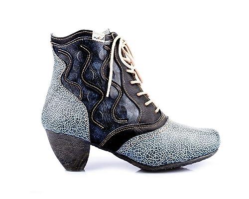 36-42 TMA 8908 Modische Damen Stiefeletten Stiefel Leder Schuhe schwarz alle Gr