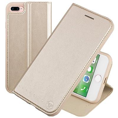 Nouske Funda tipo cartera para iPhone 7 Plus iPhone 8 Plus de 5,5 pulgadas de Apple, dorada