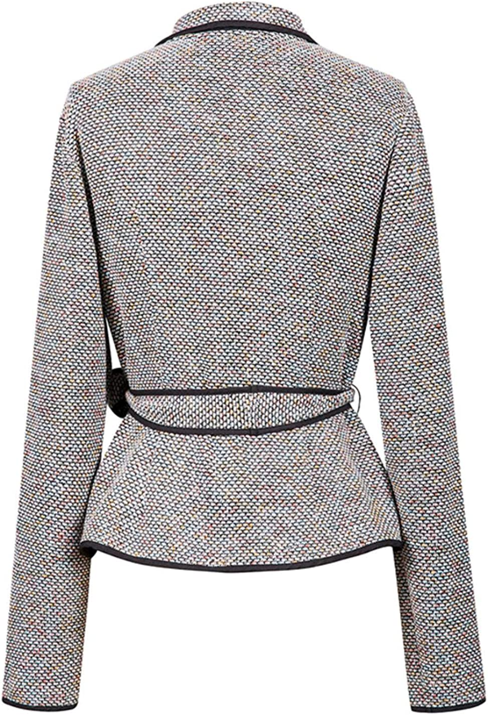 Bibize Women Korean Turn-Down Collar Coat Casual Buttons Sashes Autumn Short