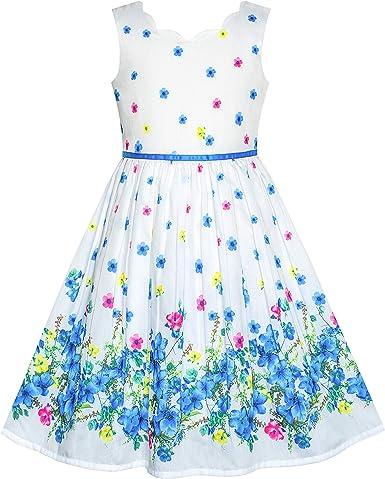 Sunny Fashion Vestido para niña Morado Girasol Verde Hojas Mariposa 4-12 años: Amazon.es: Ropa y accesorios