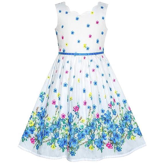 Sunny Fashion Vestido Para Niña Morado Girasol Verde Hojas Mariposa 4 12 Años