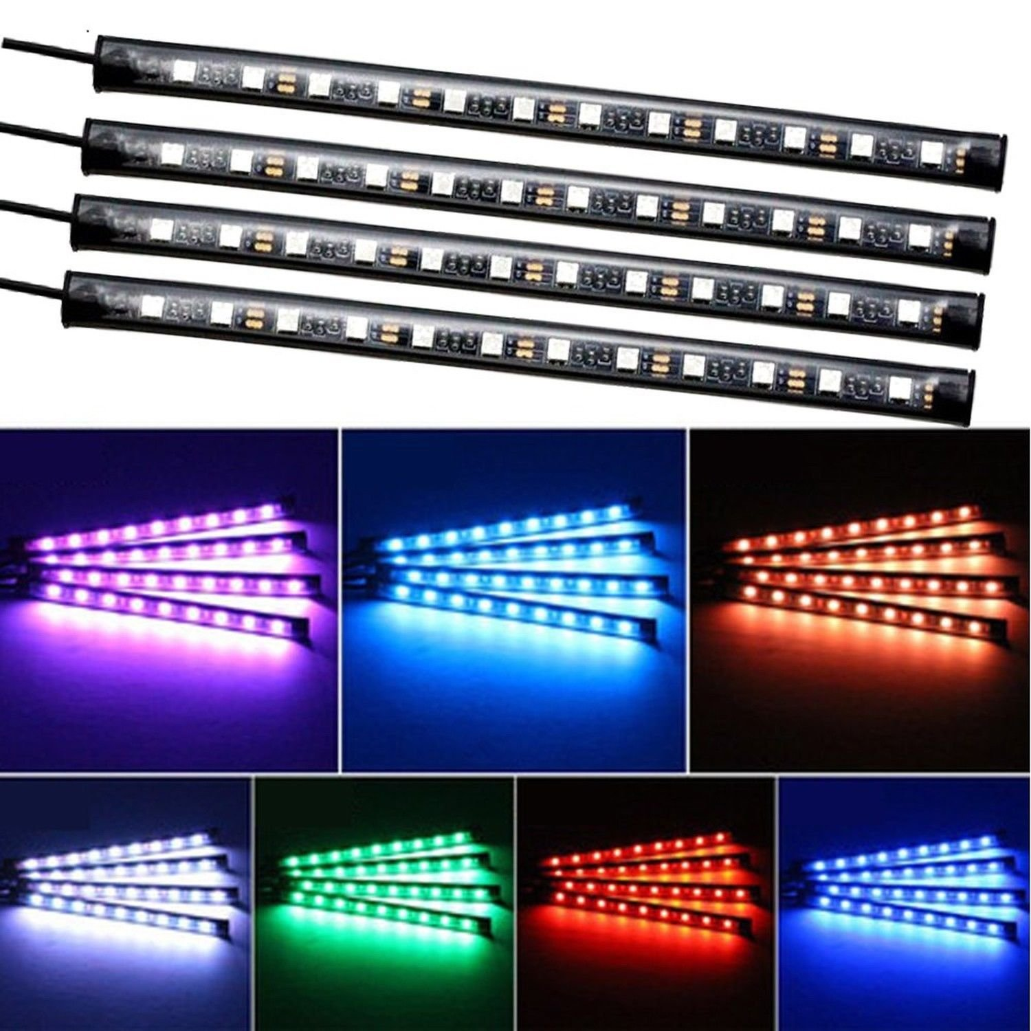 Car LED Strip Lights,4pcs 48 LED Multicolor Music Interior Strip Lights Under Dash Lighting Waterproof Kit With Sound Active Function And Wireless Remote Control,Car Charger Included,DC 12V by Creatrek (Image #6)