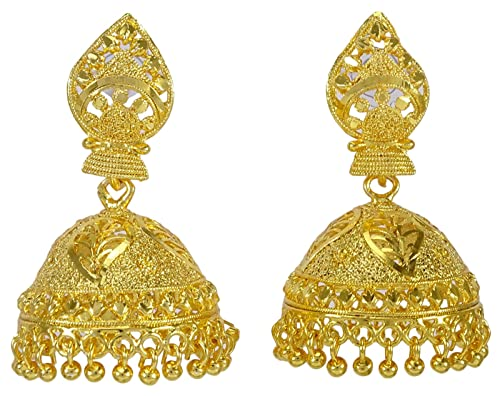 23a87b1cc Amazon.com: Banithani Indian Designer Gold Plated Women Jhumka Earrings  Traditional Wedding Jewelry: Jewelry