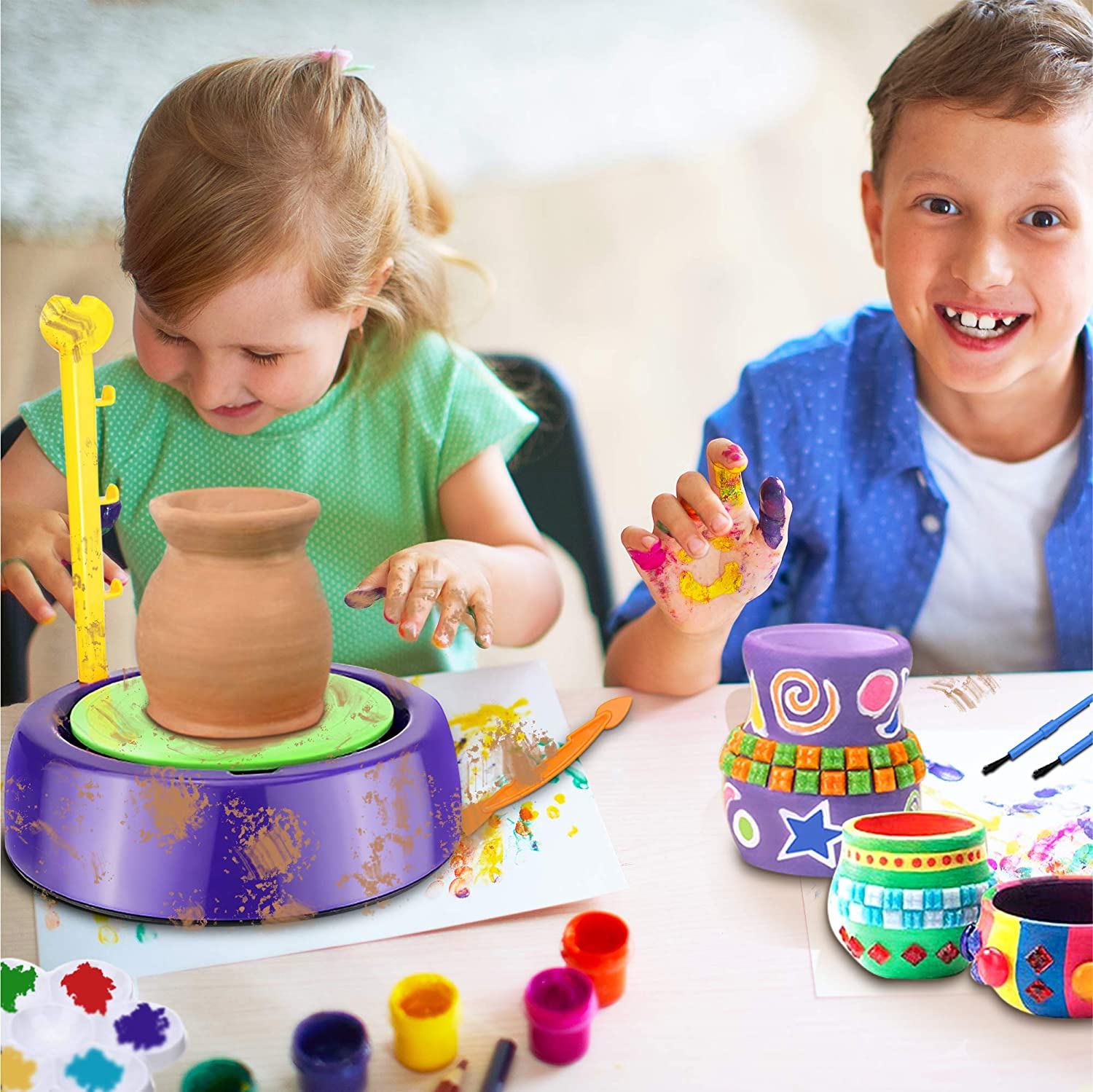 Educational Toy for Kids Beginners BuddynBuddies- Pottery Studio Clay Pottery Wheel Craft Kid for Kids Age 8 and Up Air Dry Sculpting Clay and Craft Paint kit for Kids
