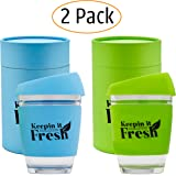 Keepin It Fresh Double Walled Glass Insulated Mug Set for Coffee, Tea, Espresso, Hot & Cold Drinks – Tumbler Travel Cups with Non-Slip Silicone Sleeve & Sipping Lid –2pc Reusable Drinkware