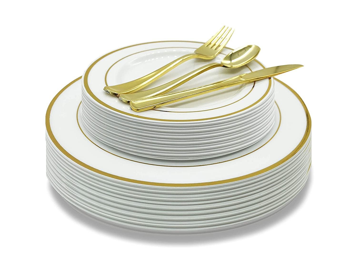 EcoEarth 125-Piece Elegant Plastic Plates & Cutlery Set Service for 25 Disposable Place Setting Includes: 25 Dinner Plates, 25 Dessert Plates, 25 Forks, 25 Knives, 25 Spoons (Gold Rim), Dinnerware Set