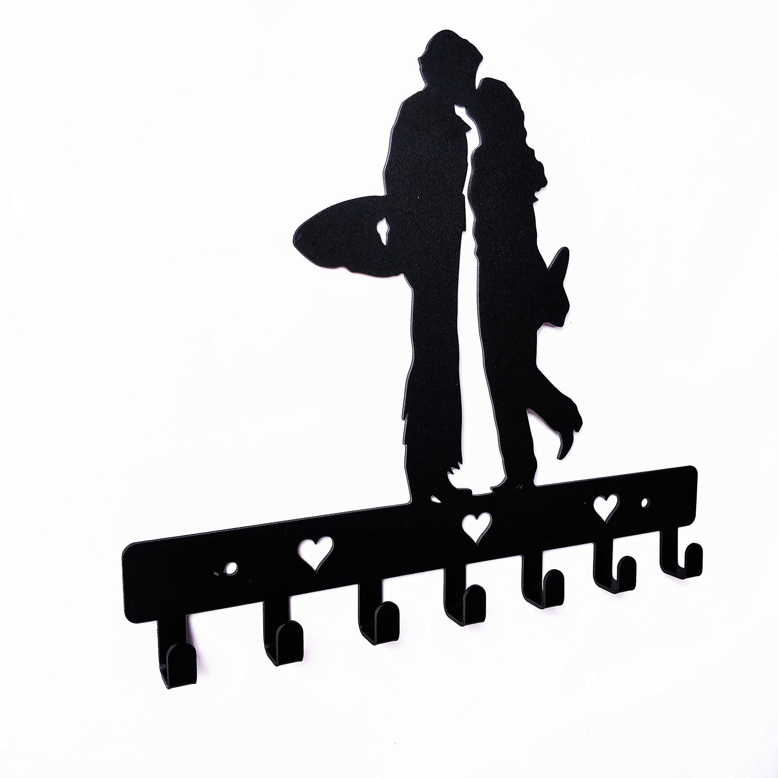 HeavenlyKraft Kissing Couple Wall Mounted Metal Key Holder Size 10.6X 7.5 X .8 inch Key Hanger, Medal Hanger, Leash Hanger, Key Organizer, Metal Key Hook,Black