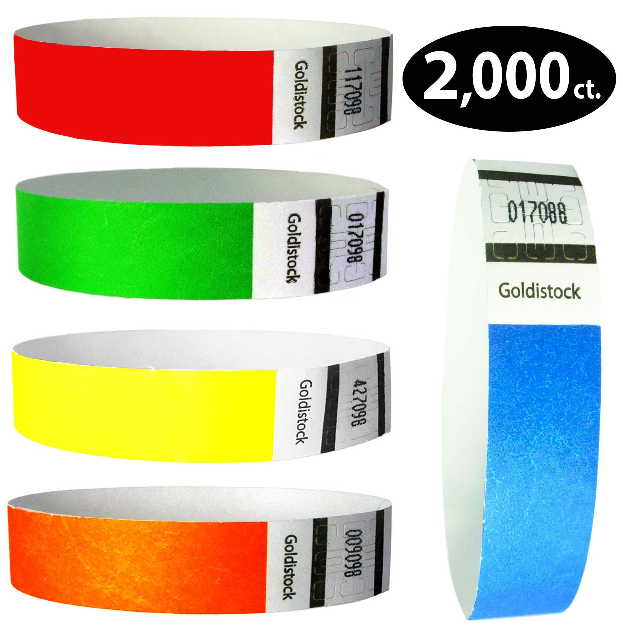 Tyvek Wristbands - Goldistock 2,000 Count Rainbow Variety Pack - ¾'' Arm Bands -400 Each: Neon Green, Blue, Red, Yellow & OrangePaper-like Party Armbands - Heavier Tyvek Wrist Bands = SuperiorEvents by Goldistock