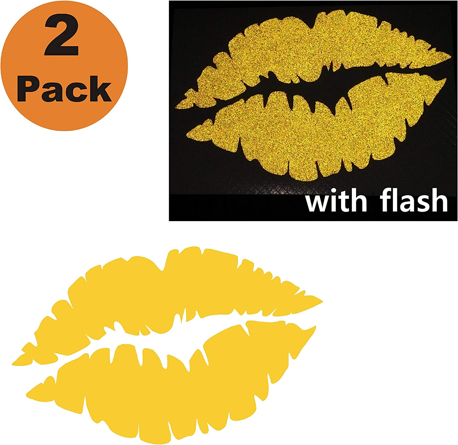 """CUSHYSTORE Lips 3"""" Kiss Reflective Decal for Motorcycle Car Hardhat Phone Laptop Gold, 2 Packs"""