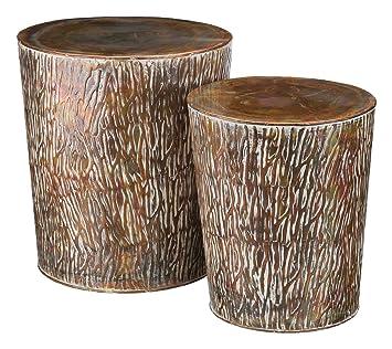 Regal Art U0026 Gift Metal Garden Stool Set Of 2 Copper Birch Outdoor Decor
