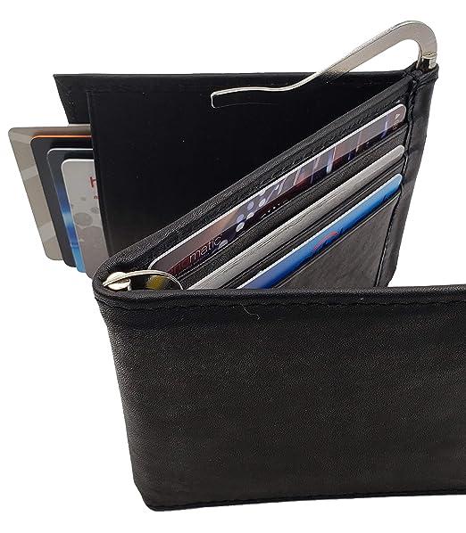 7611d0799350 AG Wallets Men's Cowhide Trifold/Bifold Double Money Clip Wallet (Z Money  Clip)Bk