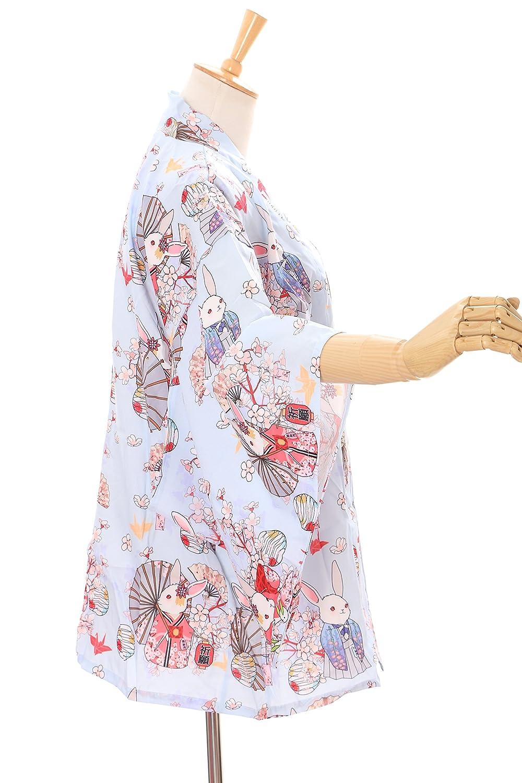 Kawaii-Story KJ-03-3 Hell-Blau Gl/ücks-Hase Rabbit Bunny Haori /Über-Jacke Geisha Kimono Yukata Harajuku Japan