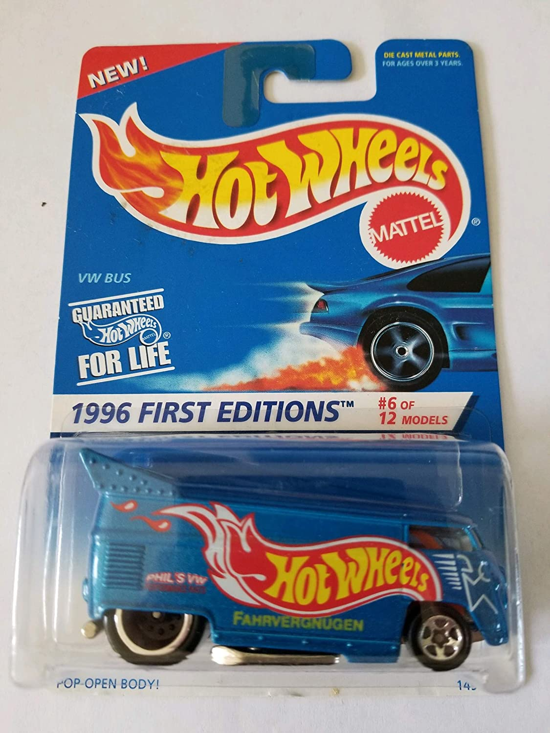 Amazon Com Hot Wheels 1996 First Editions 6 Of 12 Vw Volkswagen Bus Blue Body Color W Graphics Collector 372 Toys Games