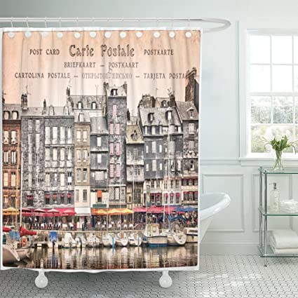 TOMPOP Shower Curtain French Old Harbor Of Honfleur France Vintage Style Port Scene Waterproof Polyester Fabric