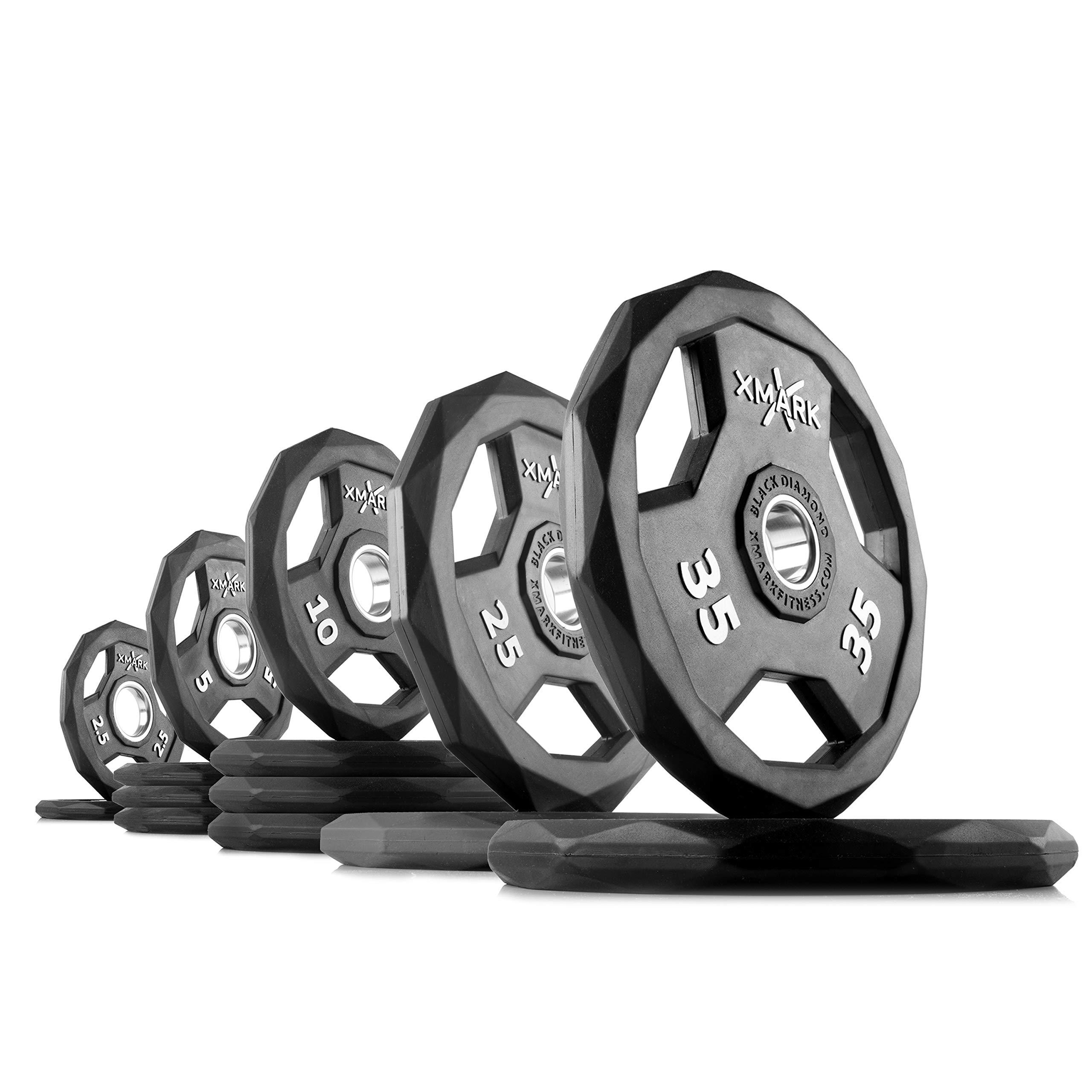 XMark Black Diamond 185 lb Set (Option 2) Olympic Weight Plates, One-Year Warranty, Patented Design