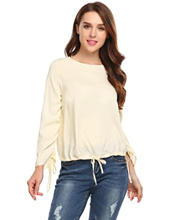 0111c7222 Zeagoo Women Casual O-Neck Long Sleeve Solid Drawstring Hem and Cuffs Loose  Blouse Tops