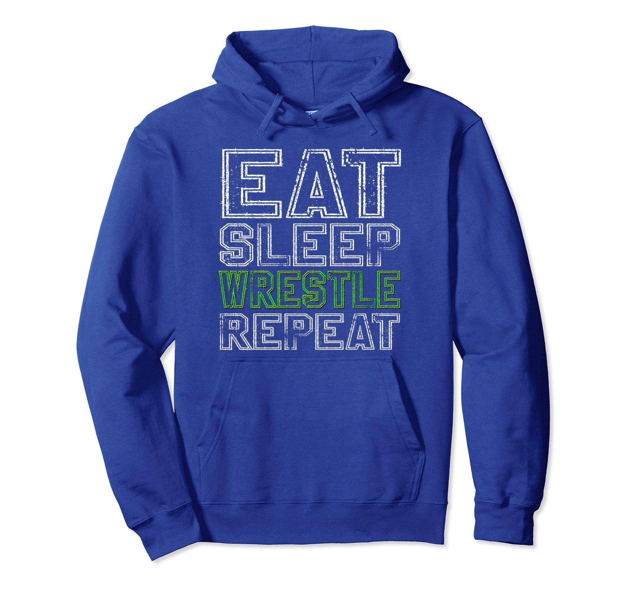 Unisex Eat Sleep Wrestle Repeat Hoodie Funny Wrestling Gift Small Royal Blue