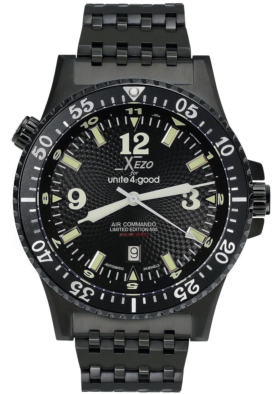 Xezo Men's Air Commando D45 BL Japanese Automatic Diver's Pilots Watch. 2nd Time Zone. 200M WR. Black PVD Titanium Carbide Coated