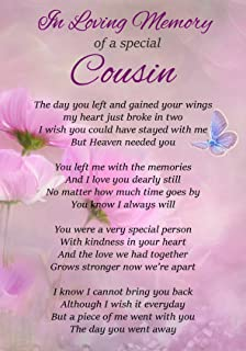 Cousin In Heaven Memorial Graveside Poem Keepsake Card Includes Free