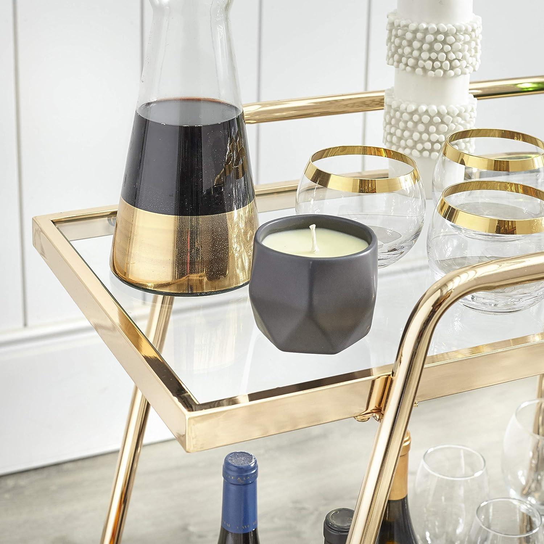 29.9 Angelo:HOME Dorset Mid Century Modern 2-Shelves Mobile Kitche Bar Cart Gold