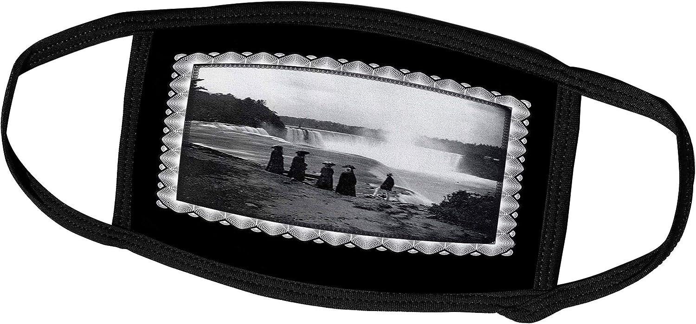 3dRose BLN Vintage Photographs of History and People 1800s - 1900s - The Niagara Falls, c. 1853 Taken by Platt D. Babbitt, Victorian Era Women with Parasols - Face Masks (fm_160755_2)