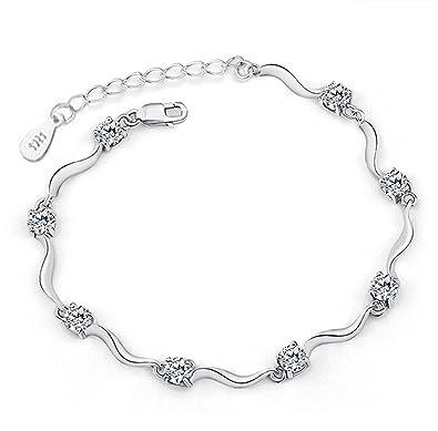 Bracelet en argentavec huit pierres blanc brillant pour femme