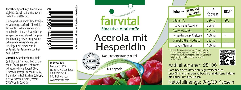 Acerola con hesperidina - durante 2 meses - VEGAN - 60 Cápsulas - con la vitamina C y extracto de semilla de pomelo: Amazon.es: Salud y cuidado personal