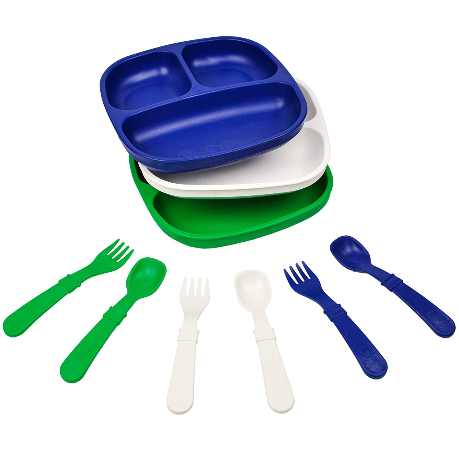 Aqua Re-Play Made in The USA Dinnerware Set Sky Blue 3pk Divided Plates with Matching Utensils Lime Green Under The Sea