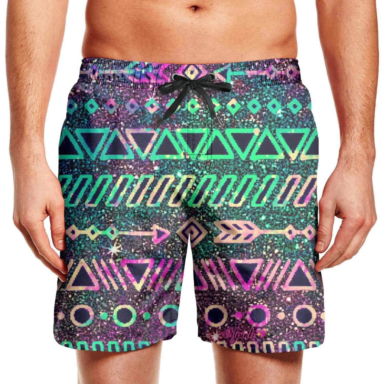 CCBING Mens Rainbow Colorful Neon Tribal Fashion Quick Dry Swim Trunks