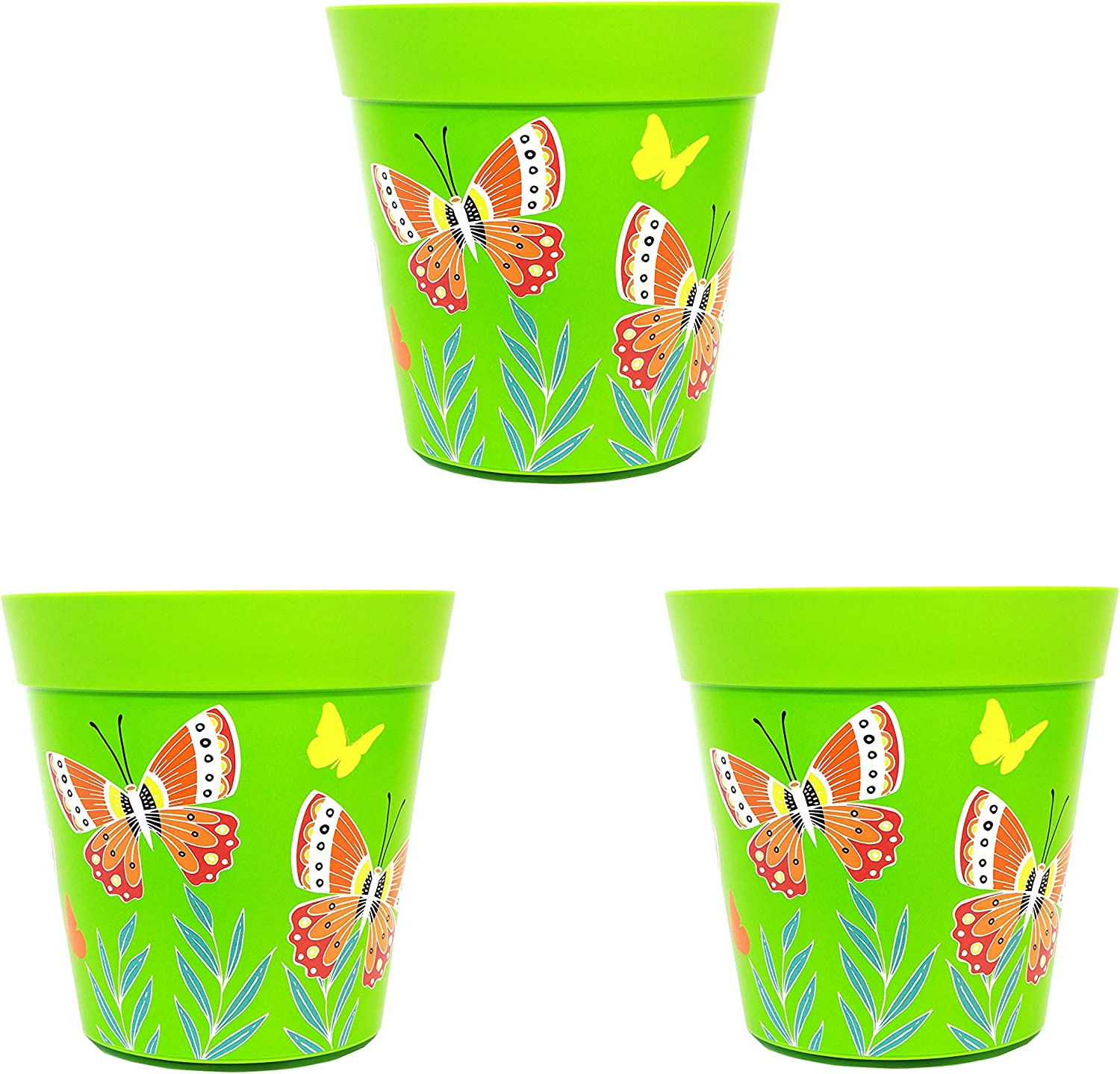 Plant pots set of 3 colourful pots indoor//outdoor herb pots 15cm x 15cm blue green and pink planters