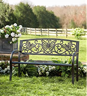 Butterfly Scroll Metal Outdoor Yard Garden Bench With Steel Frame Cast Iron  Back 50 W X