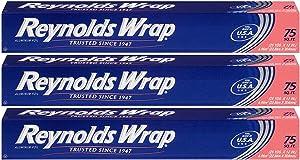 Reynolds Wrap Standard Aluminum Foil, 75 Square Feet - 3 Pack