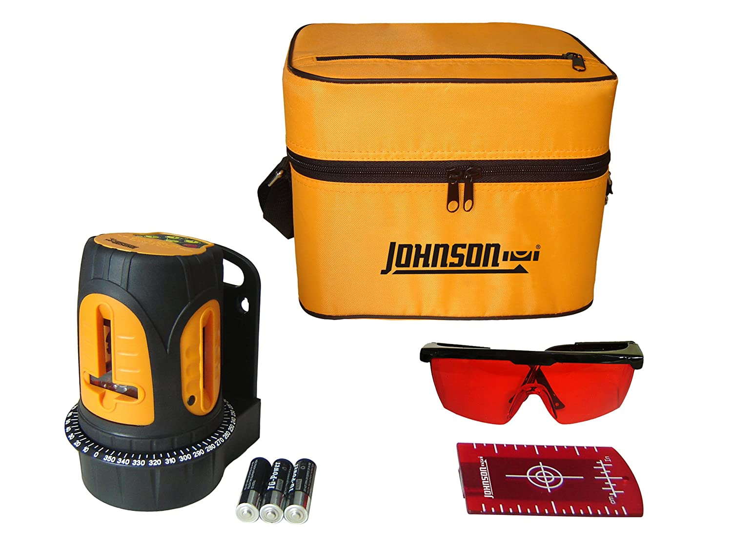 Johnson Level and Tool 40 6602 Self Leveling Cross Line Laser Level with 3 Vertical Lines