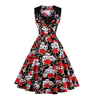 NJRGFDR Skull Print Dress Retro Vintage Rockabilly Swing Summer Dresses Elegant Tunic Vestido Multi XXXL