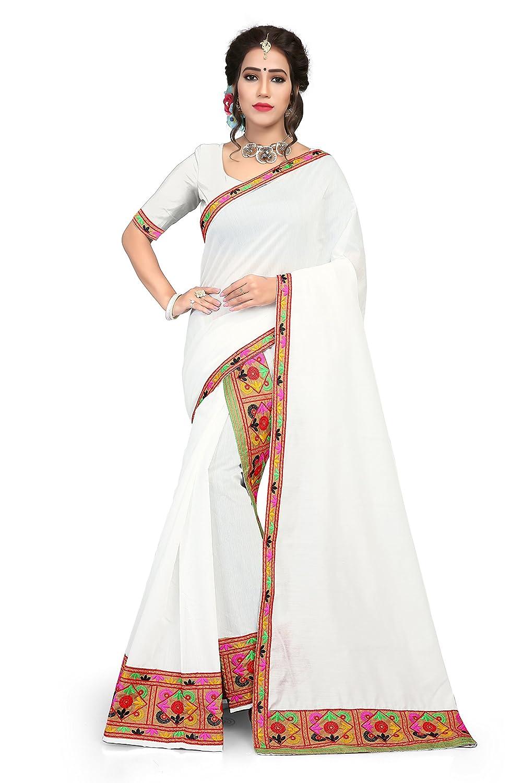 S Kiran's Assamese Art Silk Mekhela Chador (White_Free Size)