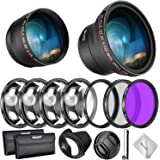Neewer 58mm Lens and Filter Accessory Kit for Canon Rebel EF-S 18-55mm Lens: 0.43X Wide Angle Lens, 2.2X Telephoto…