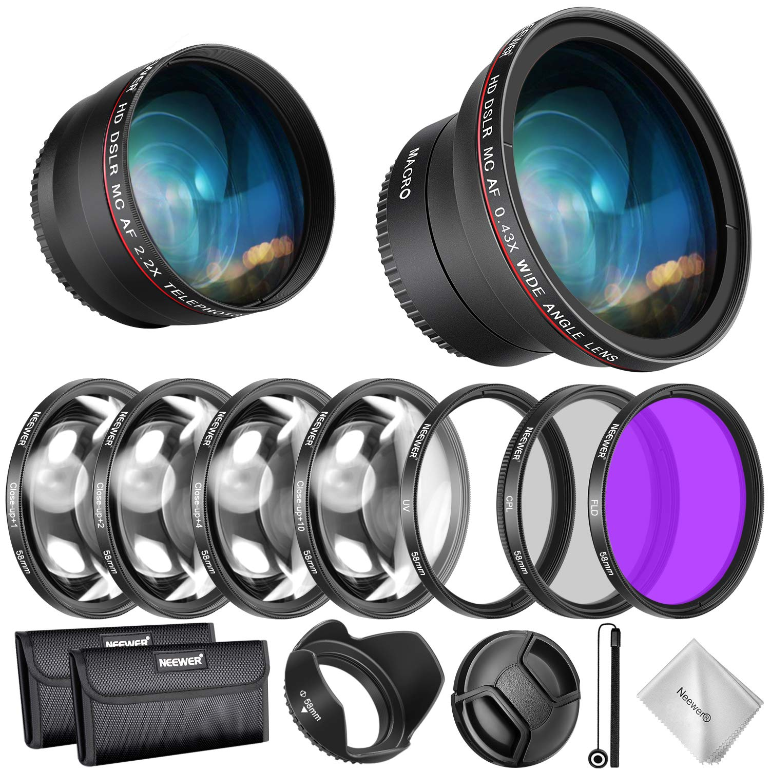 Neewer 58mm Lens and Filter Accessory Kit for Canon Rebel EF-S 18-55mm Lens: 0.43X Wide Angle Lens, 2.2X Telephoto Lenses, UV/CPL/FLD/Filter and Macro Filter Set, Lens Hood, Cap, Bag, etc by Neewer