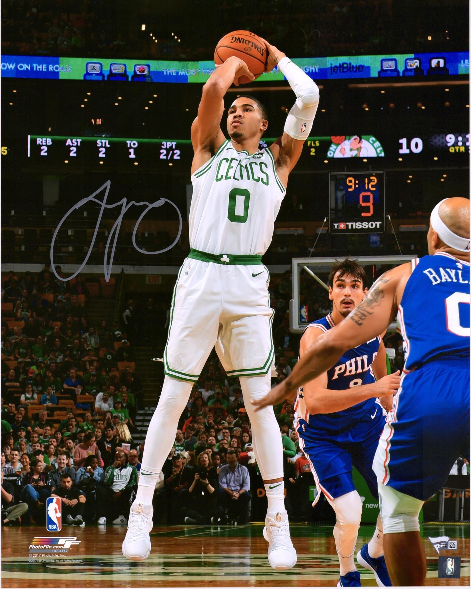 "Jayson Tatum Boston Celtics Autographed 16"" x 20"" Jump Shot Photograph Fanatics Authentic Certified"